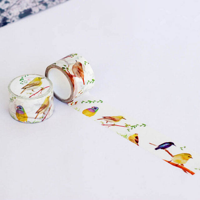 spring bird washi tape for scrapbook, bullet journal