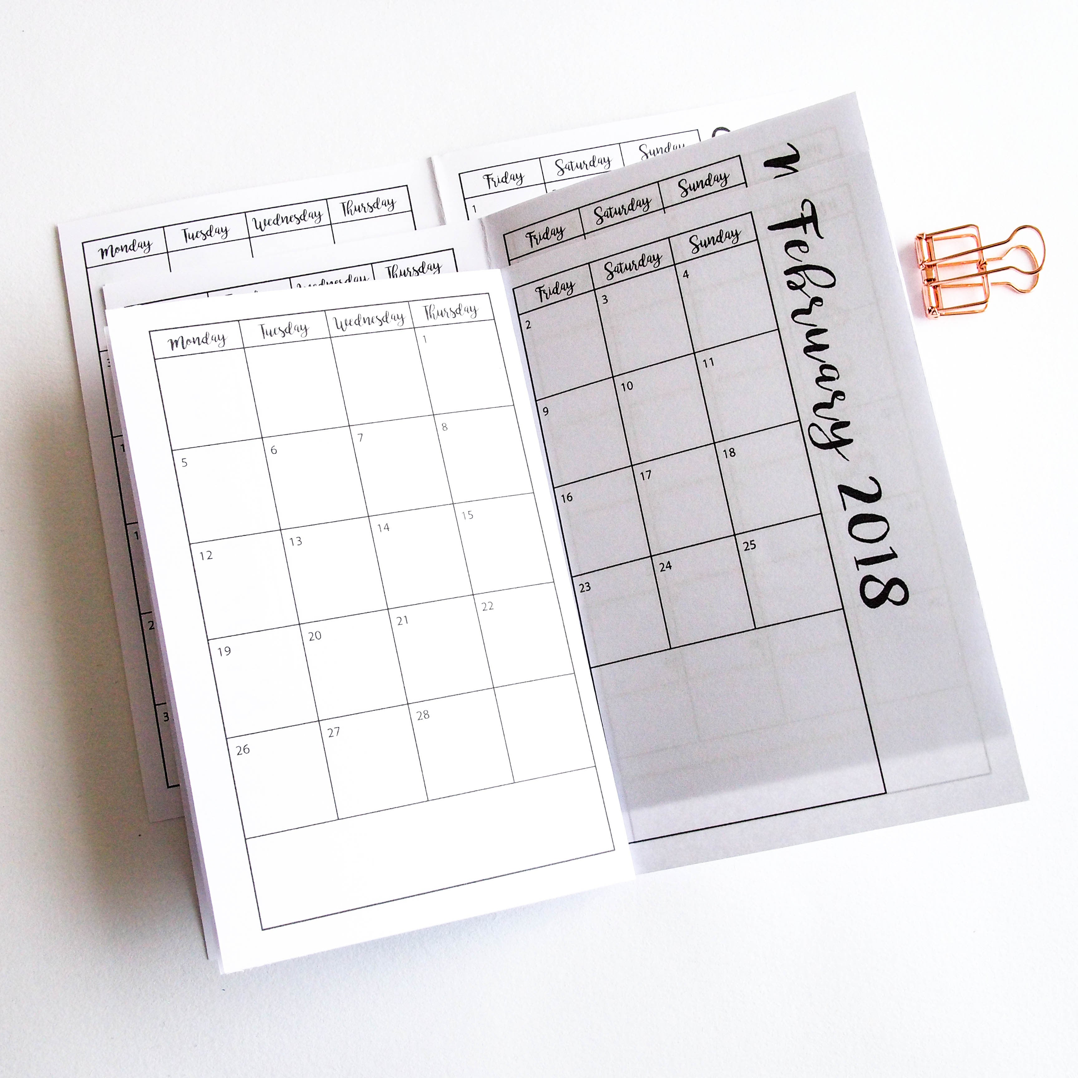 Printable Insert Mid Year Planner Pocket Or Field Note Size Tn