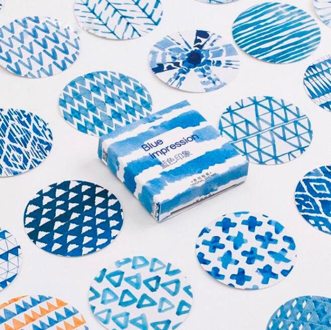 Blue Watercolor Stickers - 45pcs/pack
