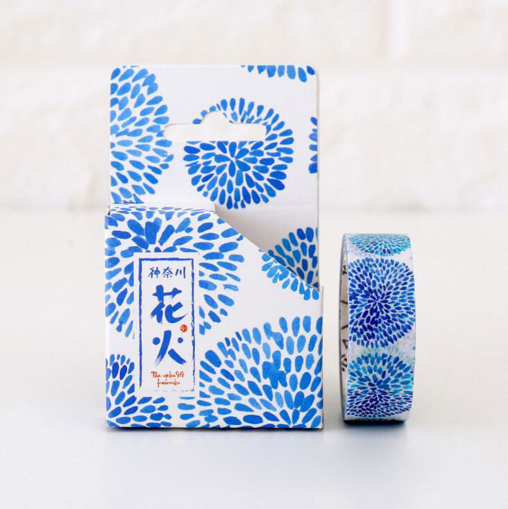Blue floral washi tape for scrapbooking cardmaking bullet journal