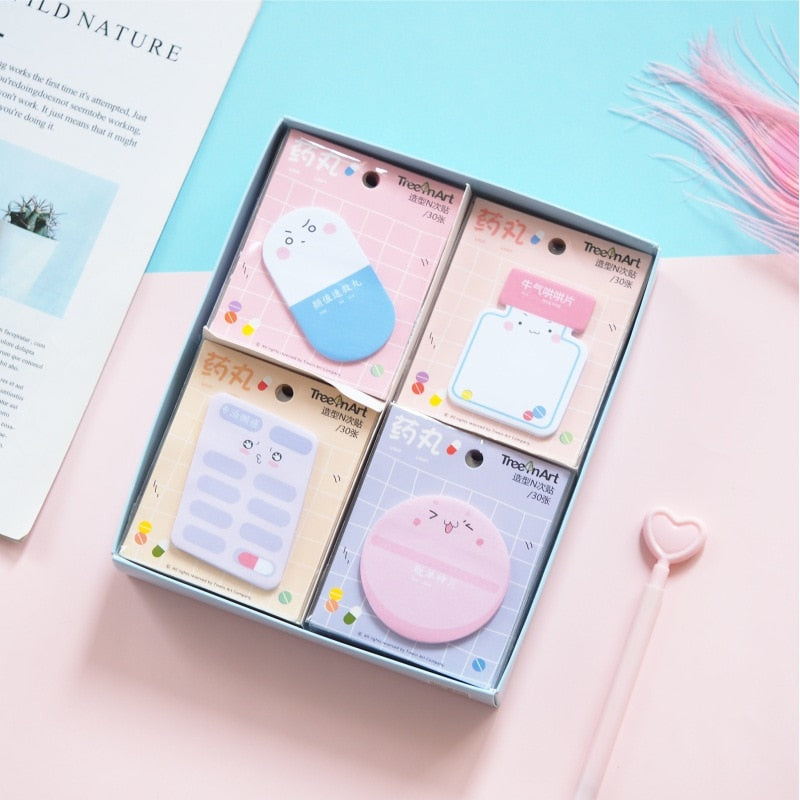 Cute Cartoon Pill Design Sticky Note Pad