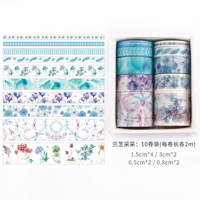 Beautiful Washi Tape Box Collection ( 10 Washi Tapes/box)