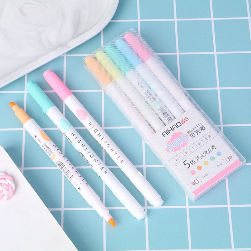 Dual Tip Highlighter Pens (5 colors/set)
