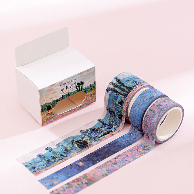 Watercolor Illustration Washi Tape Collection (3 Washi tapes/set)