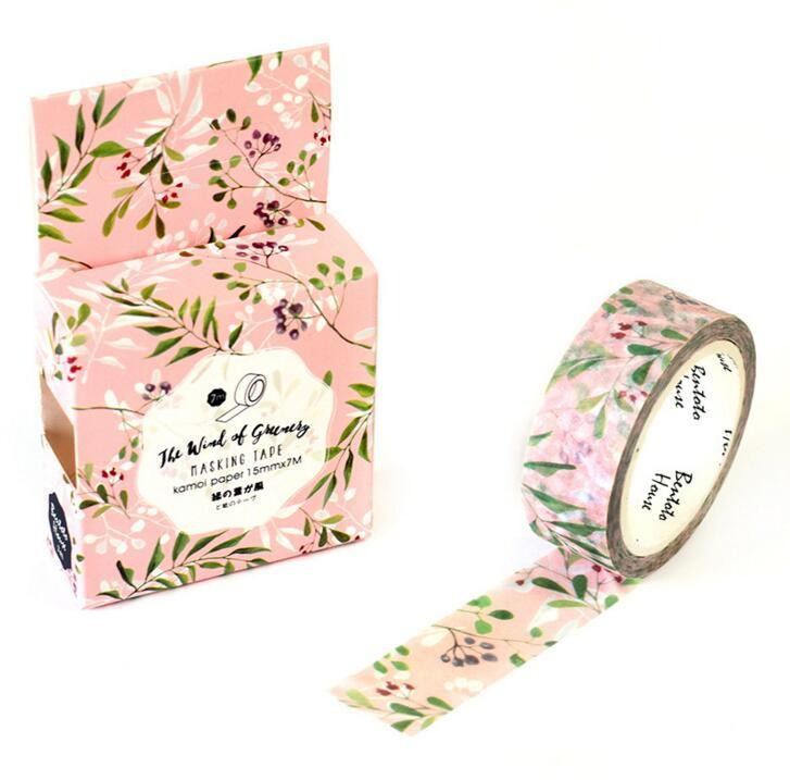 Fresh Green Leaves & Flowers Decorative Washi Tape