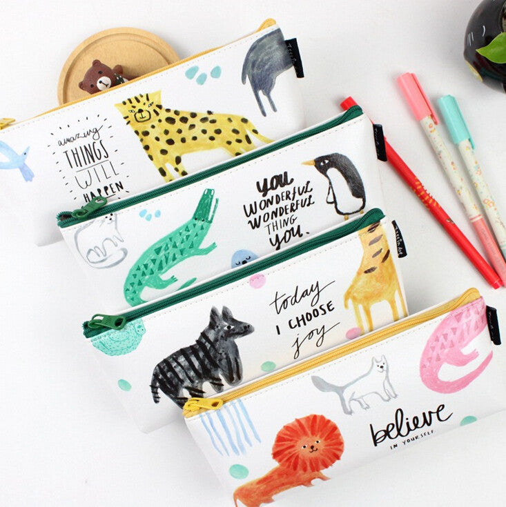 motivational quote animal pencil cases