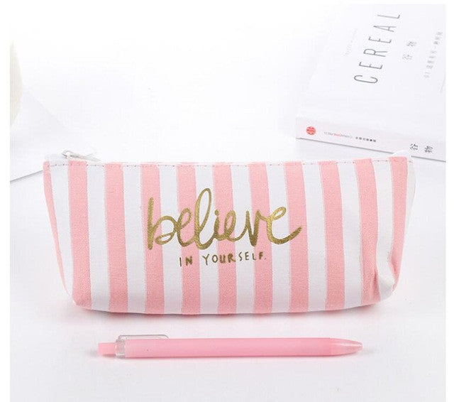 Pink Motivational Canvas Pencil Case