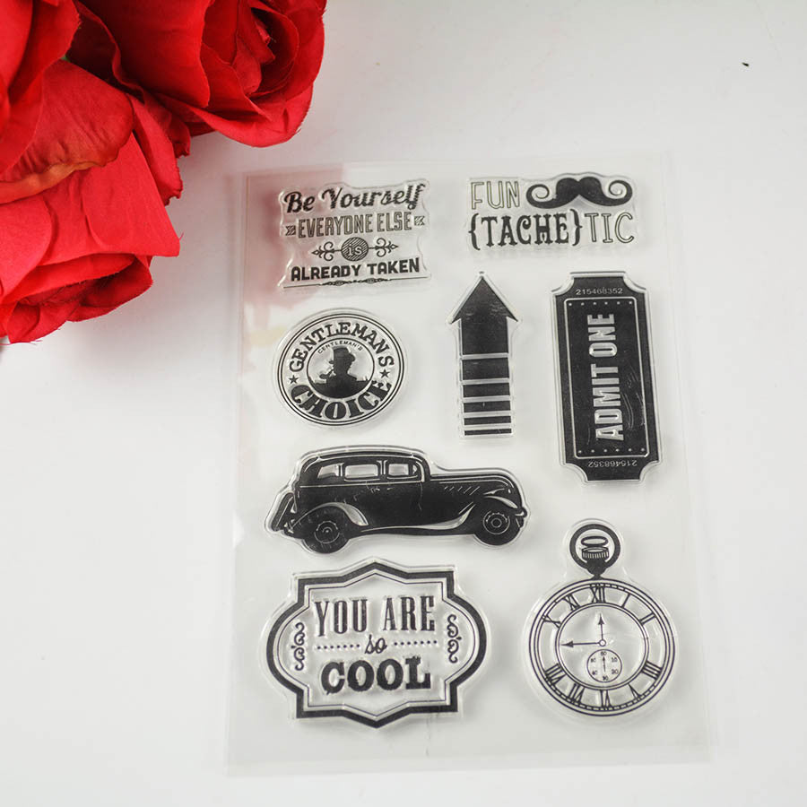 vintage car transparent stamp