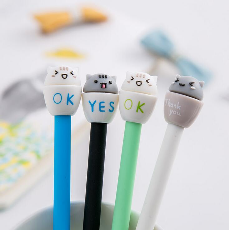 4pcs/lot 0.5mm Happy Cat in a Mug Gel Ink Pen