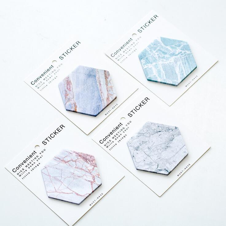 Hexagon Marble Stone Sticky Note