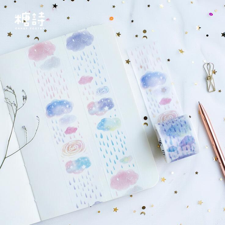 Colorful Cloud and Rain Wide Washi Tape