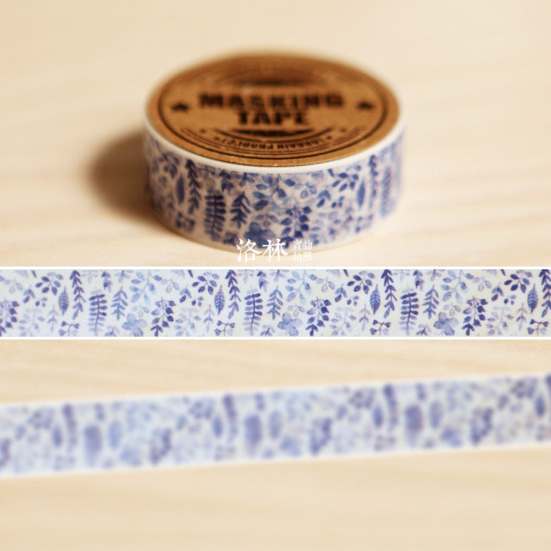Beautiful Blue Watercolor plant Washi Tape