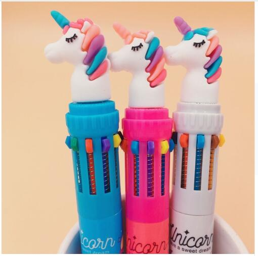 Unicorn style 10 colors ballpoint pen