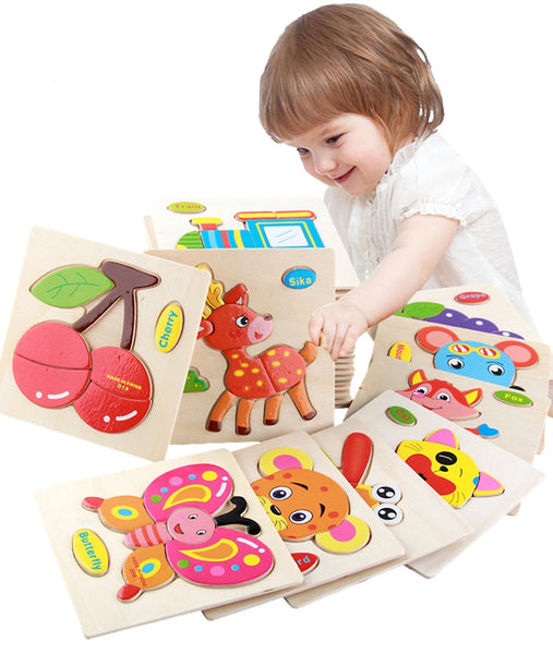 Assorted Wooden Cartoon Puzzles - petitelapetite