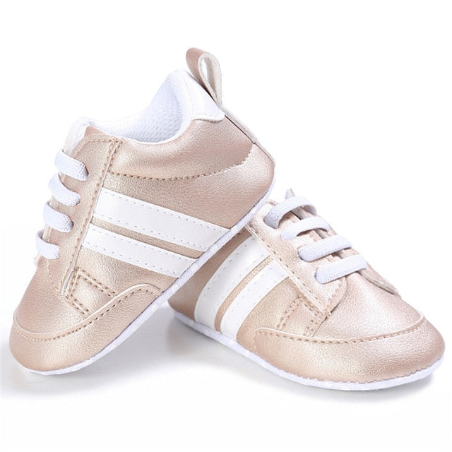 Striped Soft Sole First Walkers - 0 to 18 months - petitelapetite