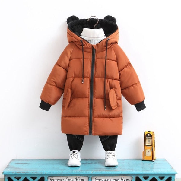 Winter Baby & Kids Parka Snowsuit with Bear Shaped Hoodies (ages: 1-7 yrs) - petitelapetite