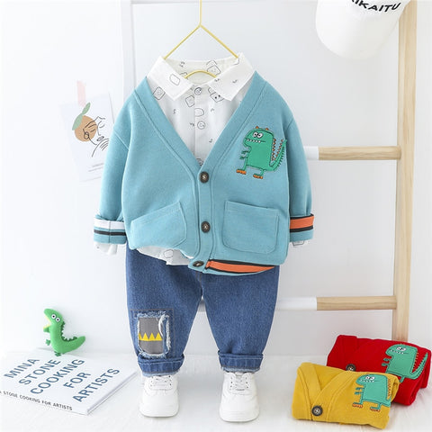 Cartoon Preppy Outfit Set - 0 to 4 years