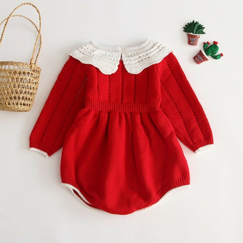 Vintage Holiday Knitted Romper Dress - Newborn to 24M - Petite La Petite