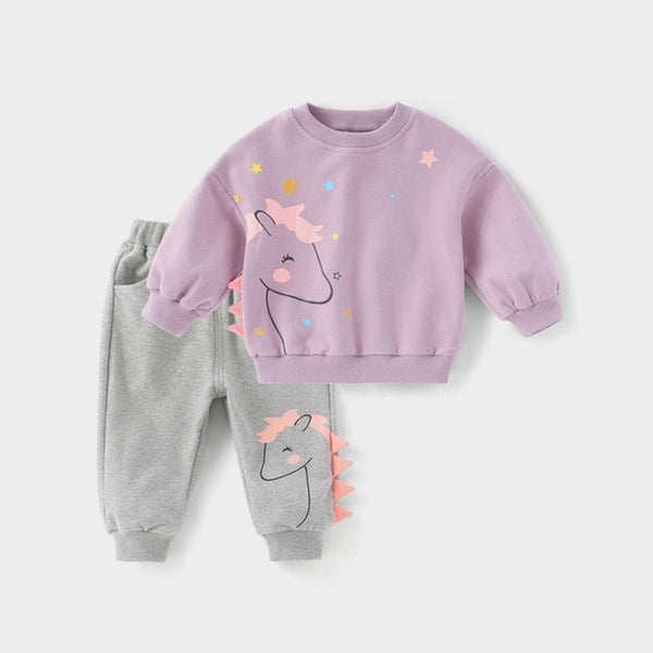 Assorted Cartoon Toddler Girls Tracksuit Set 0-5 yrs - petitelapetite