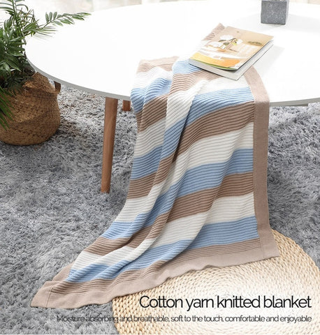 Breathable Knitted Soft Stripe Blanket 70*90cm - petitelapetite