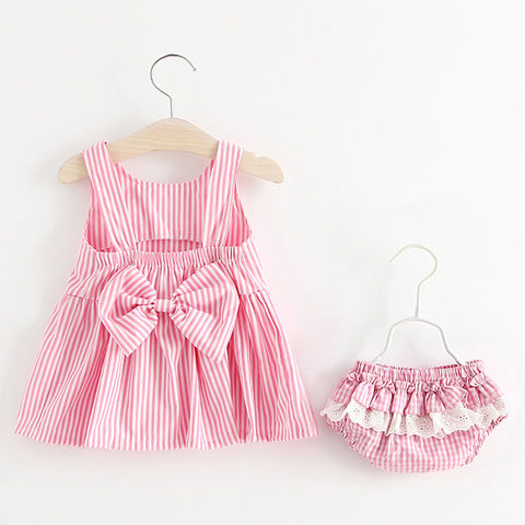 Ginger Pink Striped Dress Set - 6M to 24M - petitelapetite