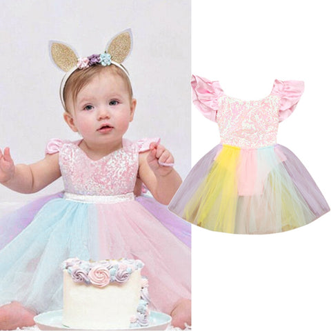 Pastel Sequined Rainbow Lace Dress - 6M to 24M - petitelapetite