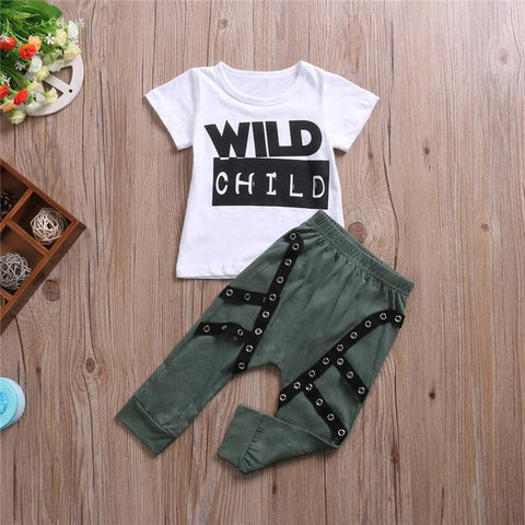 Summer Wild Child T-shirt and Pants Set - 3 months to 24 months - Petite La Petite