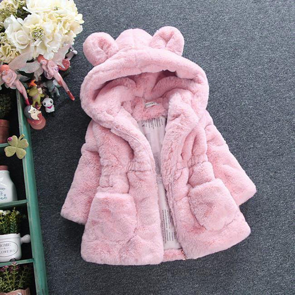 Animal Ears Hoodie Fur Coat (Ages 2 to 10) - petitelapetite