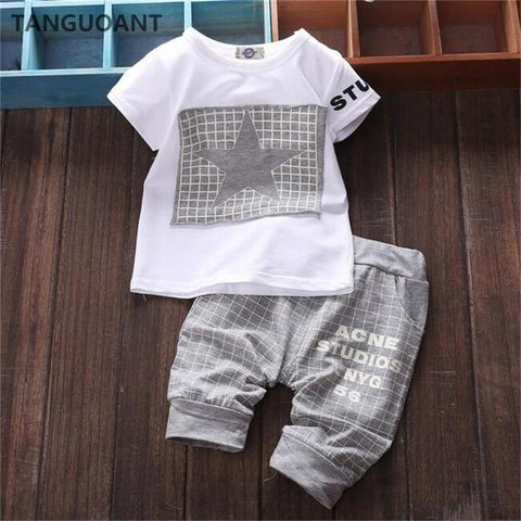 Summer Star Printed T-shirt and Pants Set - 9 moths to 24 months - Petite La Petite
