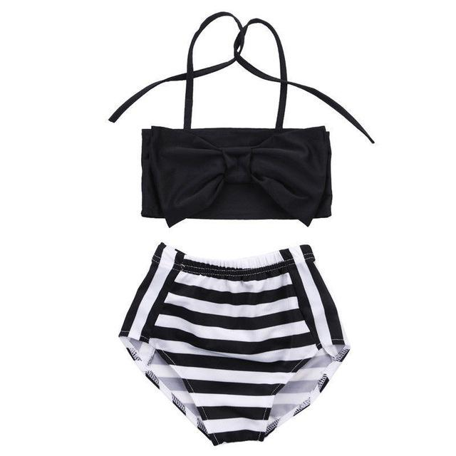 Summer Striped Triangle Bow Bathingsuit - 2 years old to 7 years old