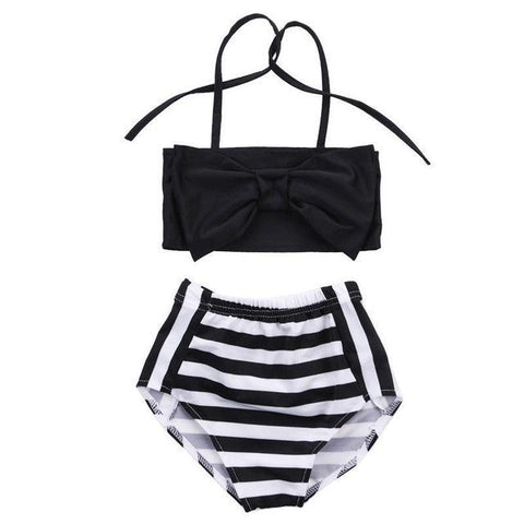 Summer Striped Triangle Bow Bathingsuit - 2 years old to 7 years old - petitelapetite