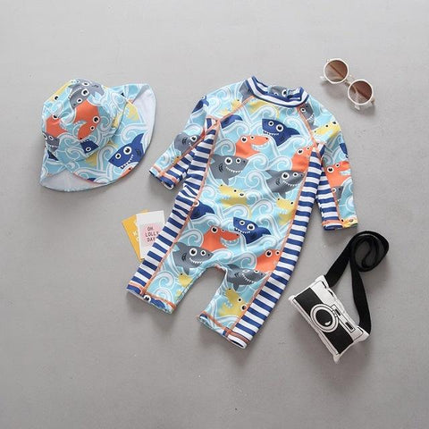 Kids Rash Guard with hat Set - 9 months to 24 months - petitelapetite