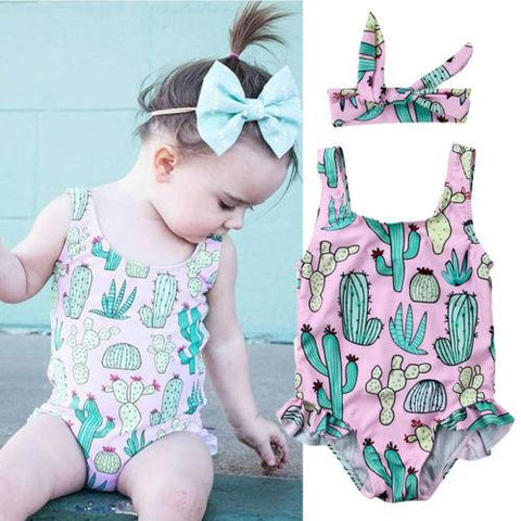 Summer 2 Piece Set Ruffles Printed Swimsuit - Newborn to 3 years old - petitelapetite