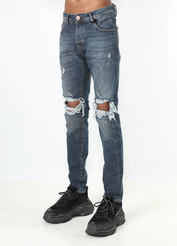 Dark Blue Destroyed Jeans