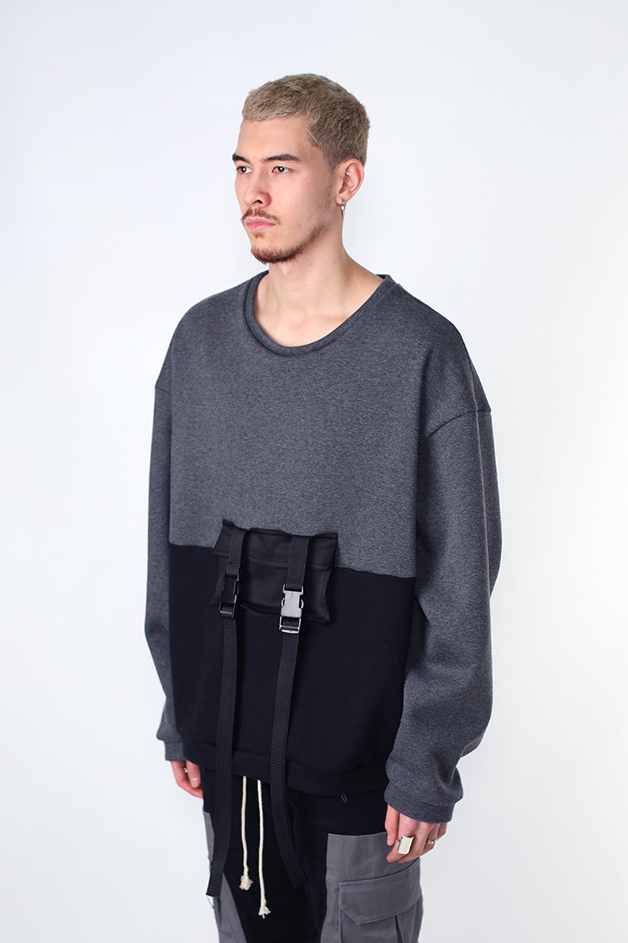 Grey Tactical Pocket Crewneck