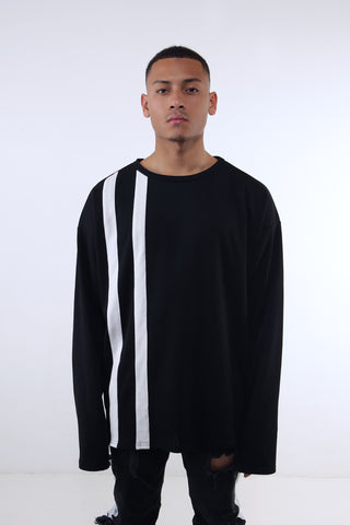 Black Double Stripe LS