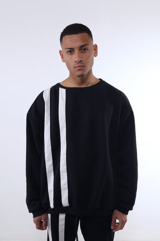 Black Double Stripe Crewneck