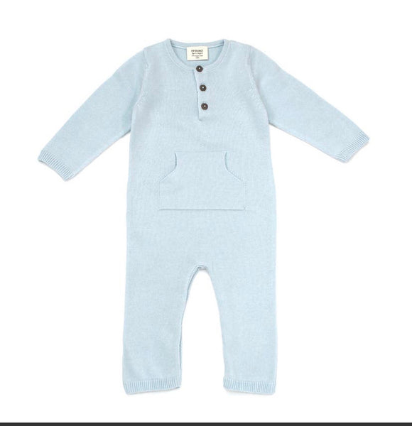 Sweater Knit Kangaroo Coverall Blue