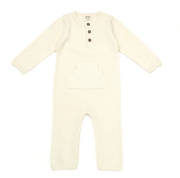 Sweater Knit Kangaroo Coverall Ivory
