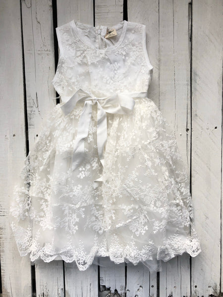 ML Kids White Lace Dress