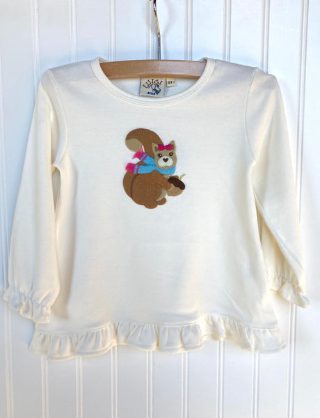 Squirrel Swing Top- Ivory