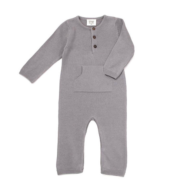 Sweater Knit Kangaroo Coverall Grey