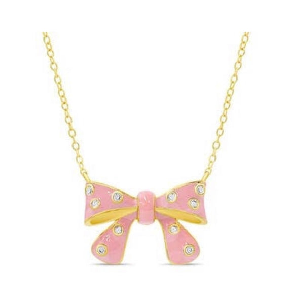 Lily Nily Bow Necklace CZ
