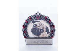 Silver Dog Wreath Personalized Ornament