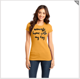 Namaste Home With My Dog - Women's Tee (Black Lettering)