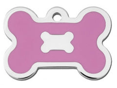Large Chrome Bone Tag With Pink Epoxy
