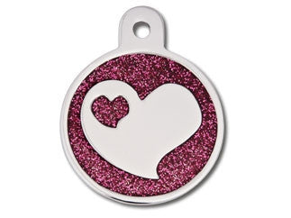 Large Circle Epoxy Glitter With Heart