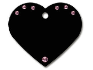 Large Heart Diva Black with Pink Stones