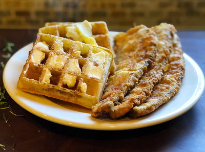 Chicken Fried Bacon Steak & Waffles