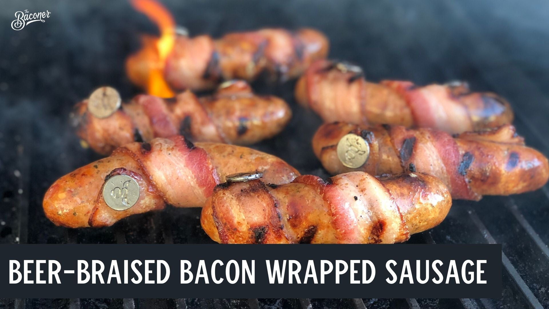 Beer-braised Bacon-wrapped Sausage